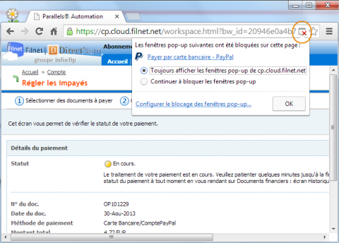 Autoriser temporairement l affichage des fen tres for Bloquer fenetre pop up chrome